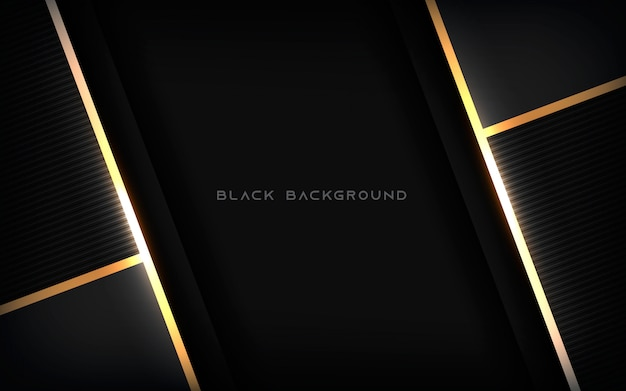 Luxury abstract black background with gold line