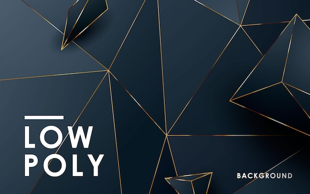 Luxury abstract black low poly background