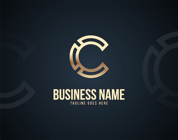 Luxury abstract c letter design logo template with gold color effects