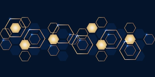 Luxury abstract gold and navy blue hexagons background.