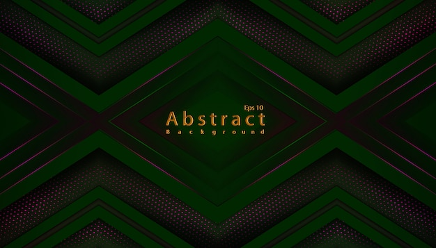 Luxury abstract green dark  background with papercut decoration halftone