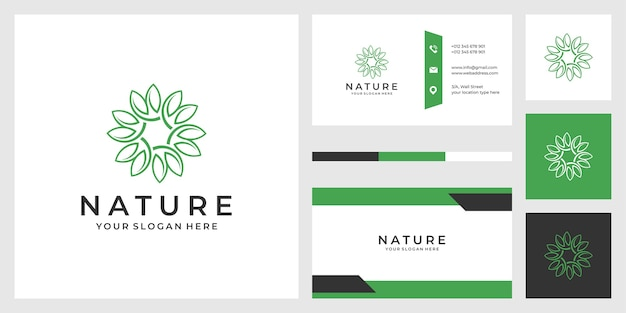 Luxury abstract leaf logo design illustration and business cards