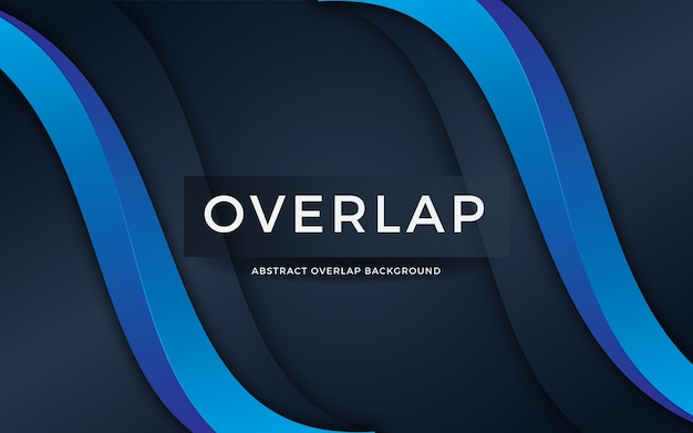 Luxury abstract overlap on dark blue background with blue