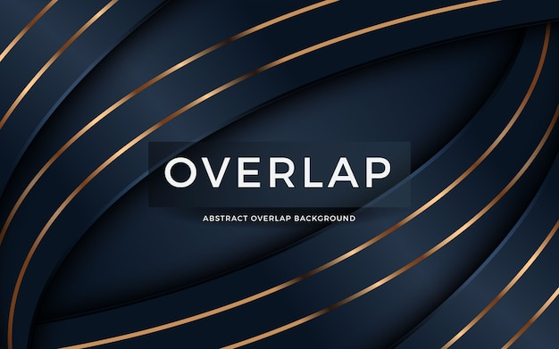 Luxury abstract overlap on dark blue background with golden
