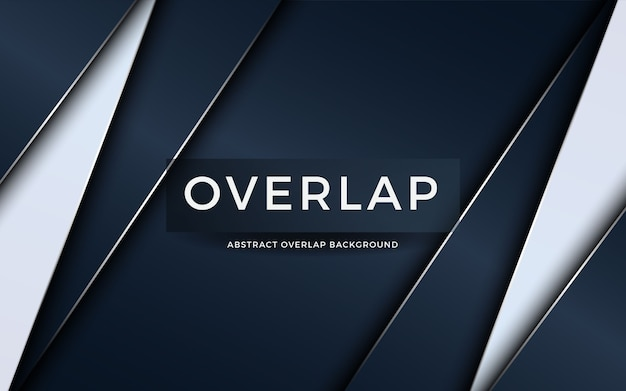 Luxury abstract overlap on dark blue background with white layer