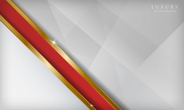 金色の線が輝く豪華な抽象的な赤と白の背景モダンなデザインテンプレート
