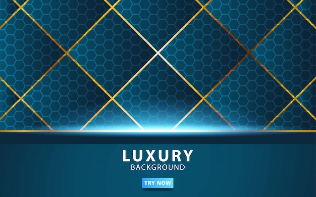 Luxury abstract technology blue vector background with gold line.