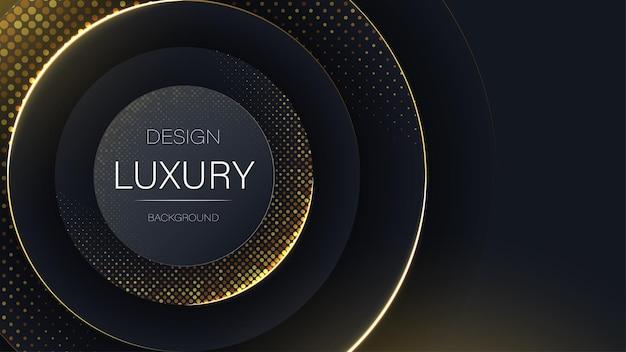 럭셔리 추상 기술 현대 검은색과 금색 반짝이 입자 배경 우아한 패턴