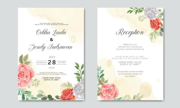 豪華さと美しさの花の結婚式の招待状