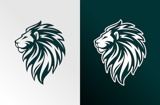 豪華でeスポーツスタイルのライオンのロゴ
