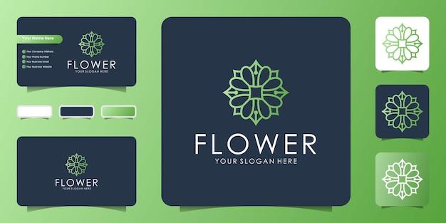 라인 아트 스타일과 명함 영감으로 고급스럽고 우아한 가을 꽃 만다라 로고 디자인