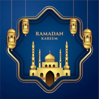豪華でエレガントなバナーセットテンプレートラマダンカリーム伝統的なランタンとモスク