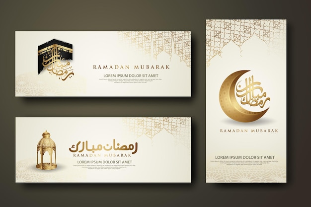 Роскошный и элегантный шаблон набора баннеров, рамадан карим с исламской каллиграфией, полумесяцем, традиционным фонарем и мечетью
