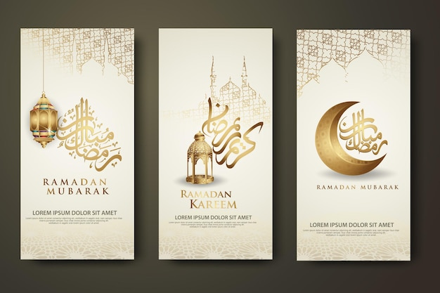 Роскошный и элегантный шаблон набора баннеров, рамадан карим с исламской каллиграфией, полумесяцем, традиционным фонарем