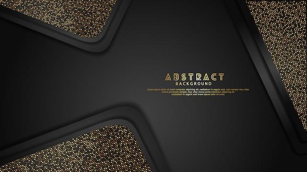 반짝이 효과와 고급 스러움과 우아한 금색과 검은 색 겹치는 레이어 배경