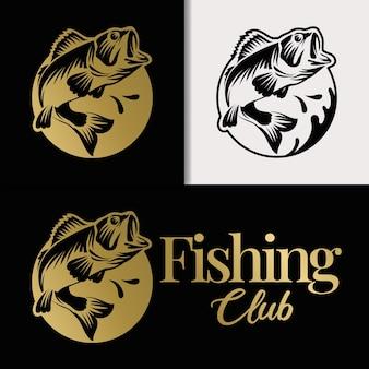 Роскошный и элегантный шаблон логотипа рыбалки с золотым кругом