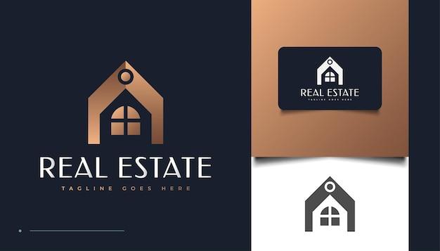 고급스럽고 우아한 부동산 로고 디자인 템플릿입니다. 건설, 건축 또는 건물 로고 디자인
