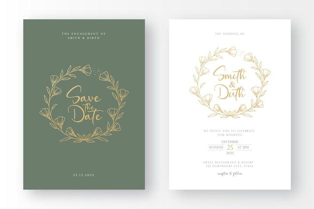 ラインアートスタイルの花の花輪のイラストと豪華で最小限の結婚式の招待カードのテンプレート
