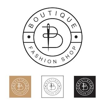 Логотип магазина модной одежды класса люкс и минимализм, буквица b с шаблоном логотипа в виде иглы