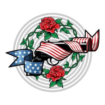 アメリカの国旗の赤いバラのロゴが付いた豪華でヴィンテージのイラスト銃