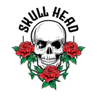 赤いバラと葉を持つ頭蓋骨の豪華でヴィンテージのイラスト
