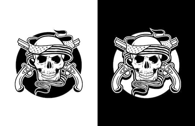 미국 국기 총과 빨간 장미 로고가있는 고급스럽고 빈티지 해골