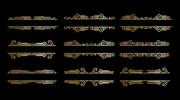 Luxury antique art deco elements big collection golden borders frames corners dividers and headers