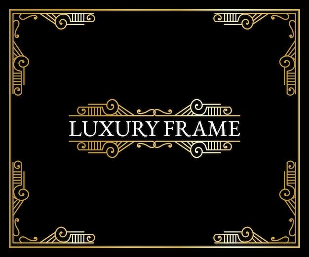 Luxury antique art deco elements  golden borders frames corners dividers and headers