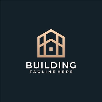 Luxury architecture building real estate logo vector.