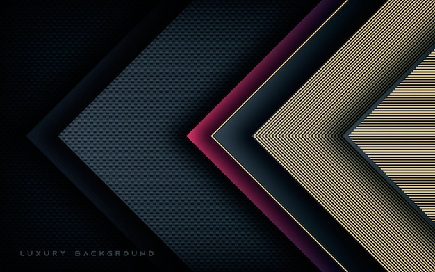 Luxury arrow dimension layers with gold line decoration background