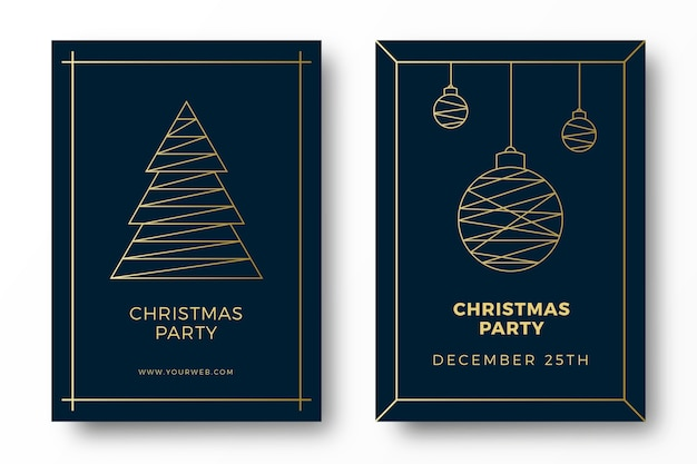 Luxury art deco christmas party cards