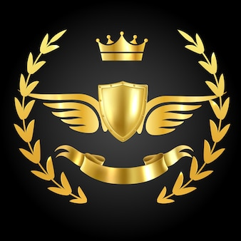 Luxury award with wings isolated