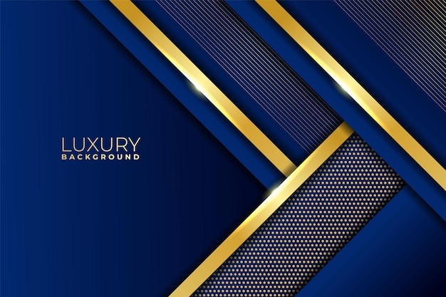 Luxury background abstract diagonal overlapped geometric shiny gold with blue navy