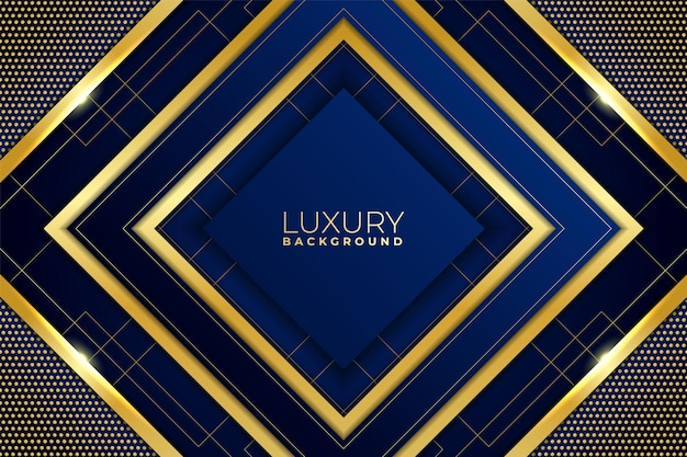 Luxury background abstract geometric shiny gold with blue navy