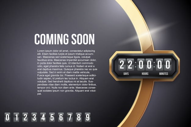 Luxury background coming soon and countdown timer. .
