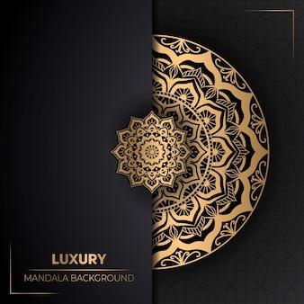 創造的な黄金の曼荼羅と豪華な背景デザイン