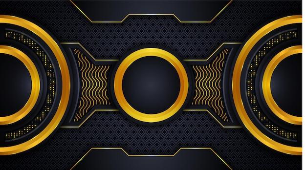 황금과 검은 색 기하학적 모양에 빛나는 황금 조명 효과가있는 고급 배경 디자인