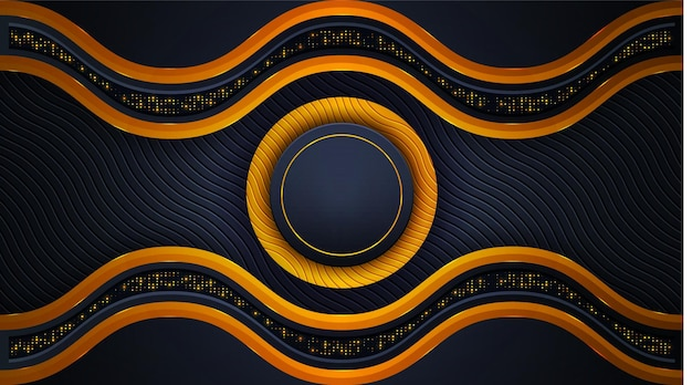 황금과 검은 색에 빛나는 황금 조명 효과가있는 고급스러운 배경 디자인
