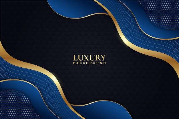 Luxury background dynamic shape blue with shiny golden line