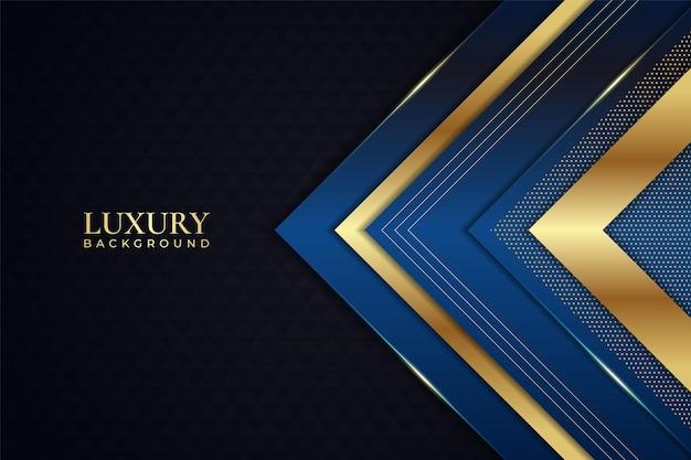 Luxury background geometric arrow elegant blue with shiny golden line