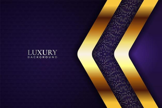 Luxury background modern purple arrow shape with glitter and glowing golden line effect