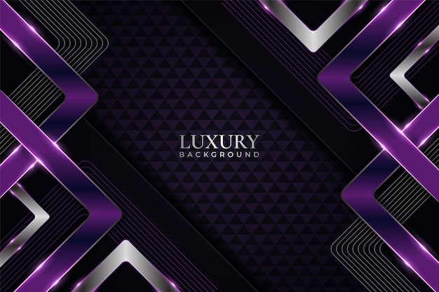 Luxury background overlapped geometric glow purple and silver in dark