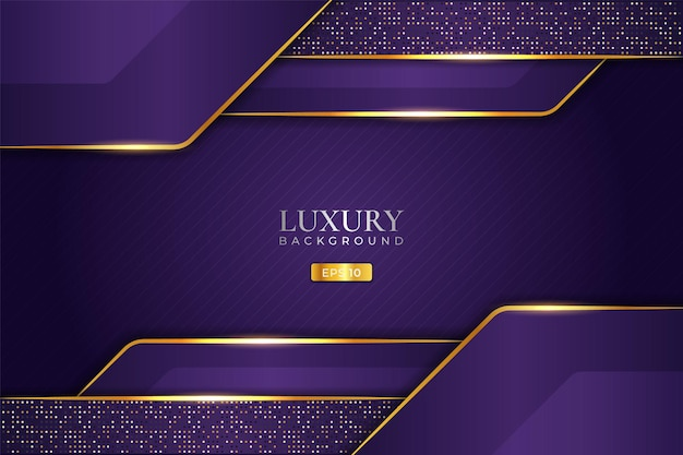 Luxury background purple overlapped layer with elegant glow golden effect and glitter