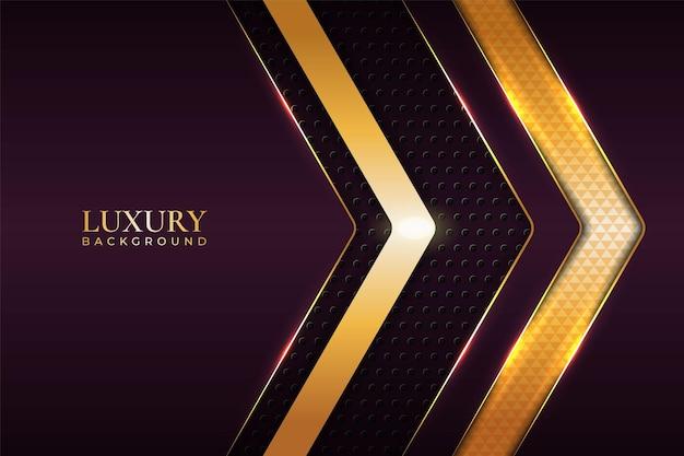 Luxury background realistic arrow glossy metallic maroon with shiny gold