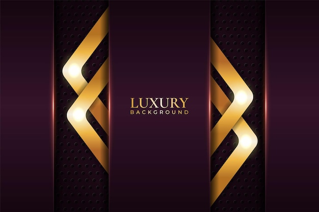 Luxury background realistic overlapped arrow glossy metallic maroon with shiny gold effect