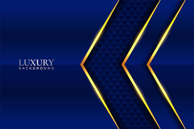Luxury background realistic overlapped blue arrow with golden shiny effect