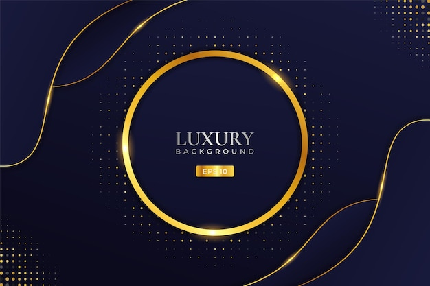 Luxury background realistic shiny golden circle with halftone effect