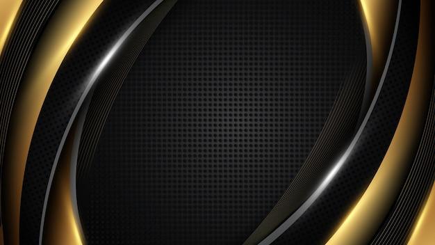 Роскошный фон вектор перекрытия слоя на темной и черной кривой линии золотые блестки блестит точками