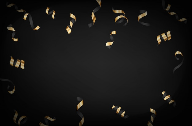 Luxury background with gold falling confetti vector layout on dark background