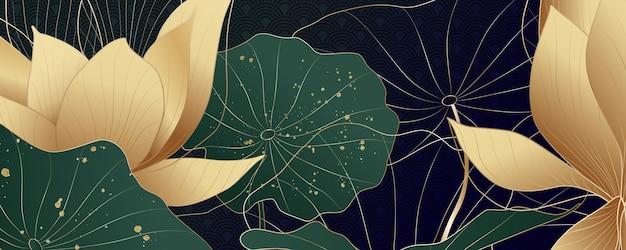 金の蓮の花と金のしぶきと緑の葉の豪華な背景。